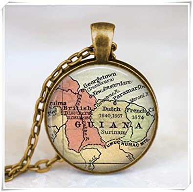 Amazon Com Guiana South America Map Pendant Map Jewelry Jewelry
