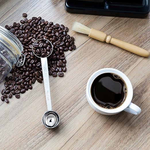 Dahey - Juego de brochas y cuchara de acero inoxidable, cepillo de limpieza de cerdas de madera, cuchara medidora (1 & 2 Tbsp), multiusos para casa, cocina, ...