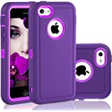 iPhone 5C Case, FOGEEK Dual layer Anti Slip 360 Full Body Cover Case PC and TPU Shockproof Protective for Apple iPhone 5C ONLY(Purple)