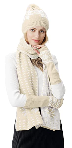 1ee8a0d525e Lovful Women s Girls Woolen 3 Piece Snowflake Hat Gloves and Scarf Sets
