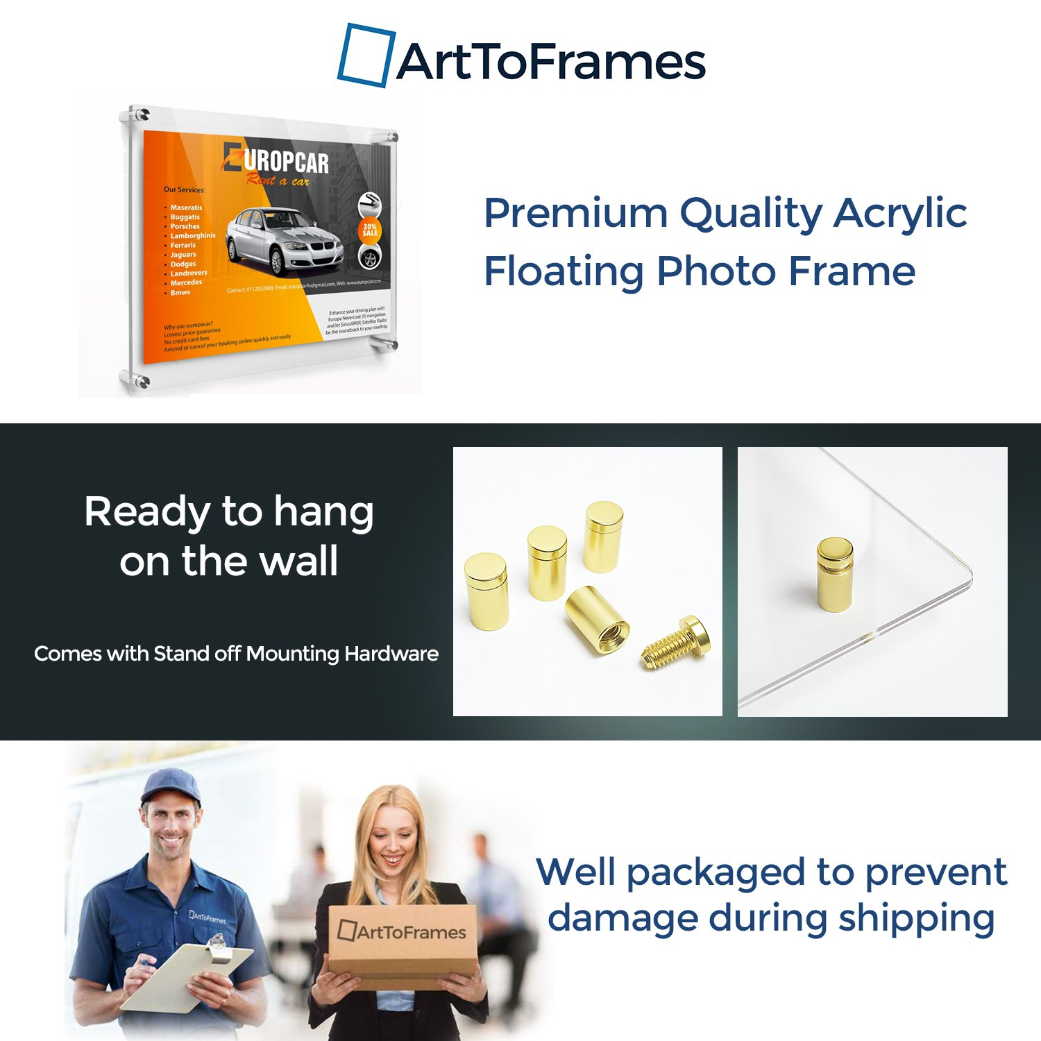 ArtToFrames Floating Acrylic Frame for Pictures Up to 16x20 inches (Full Frame is 20x24) with Gold Standoff Wall Mount Hardware, Acrylic-109-16x20-71 by ArtToFrames (Image #4)