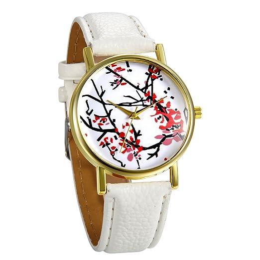 JewelryWe Reloj de Pulsera de Mujer Flores Rojas de Estilo Chino Oriental, Correa de Cuero