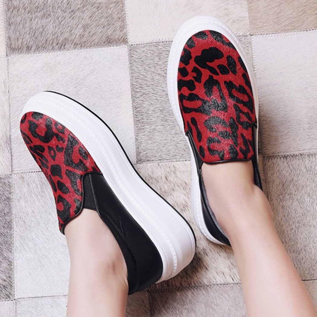 Damen Damen Leder Freizeitschuhe Freizeitschuhe Freizeitschuhe Loafers Pumps Plattform High Heels Smart Slip auf Trainer Mode Wild Skate Schuhe (Farbe   Rot Größe   39) a18941