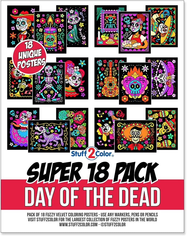 Stuff2Color Super Pack of 18 Fuzzy Velvet Coloring Posters (Day of The Dead)