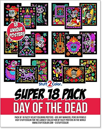 Amazon.com: Super Pack Of 18 Fuzzy Velvet Coloring Posters (Kids Themed -  Day Of The Dead Halloween) - Arts & Crafts For Toddlers, Girls, Boys &  Adults - Great For Family Fun