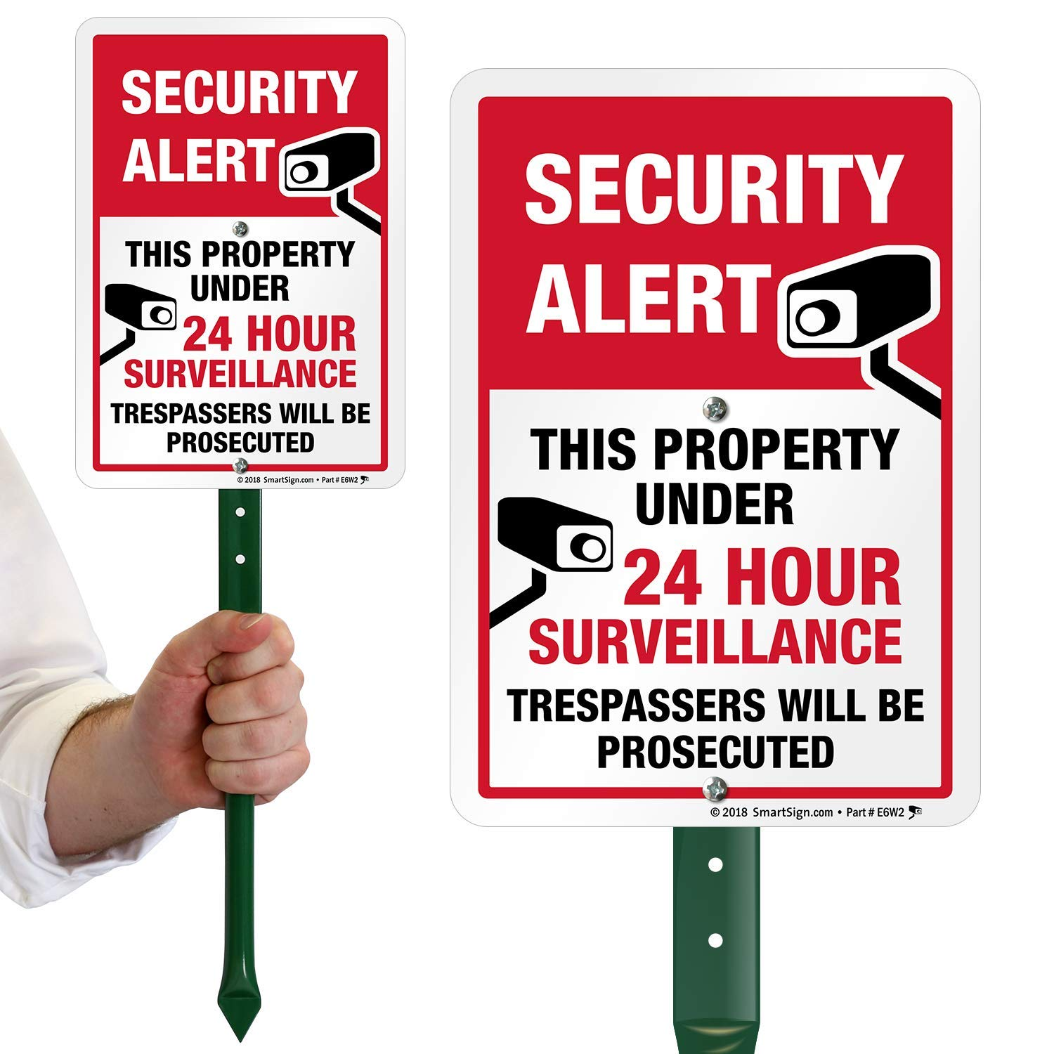 """SmartSign Security Alert - This Property Under 24 Hour Surveillance, Trespassers Will Be Prosecuted Sign for Lawn 