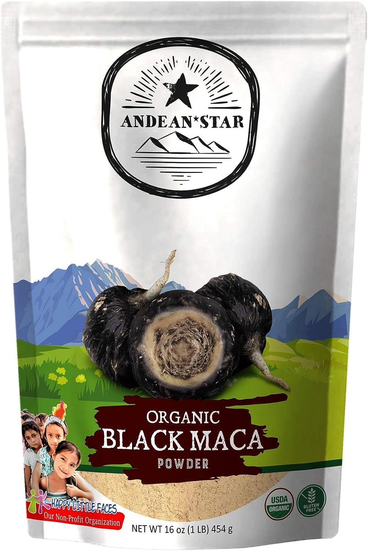 Andean Star Organic Black Maca Root Powder (1 lb.) - 100% Natural Peruvian Superfood - Vegan & Raw Root Powder - Mood, Fertility, and Virility Health Supplement - Gluten-Free - USDA-Certified
