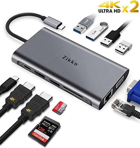 USB-C 3.1 Type C HUB To HDMI Mini DP VGA 3x USB-A 3.0 Card Reader RJ-45 USB-C PD