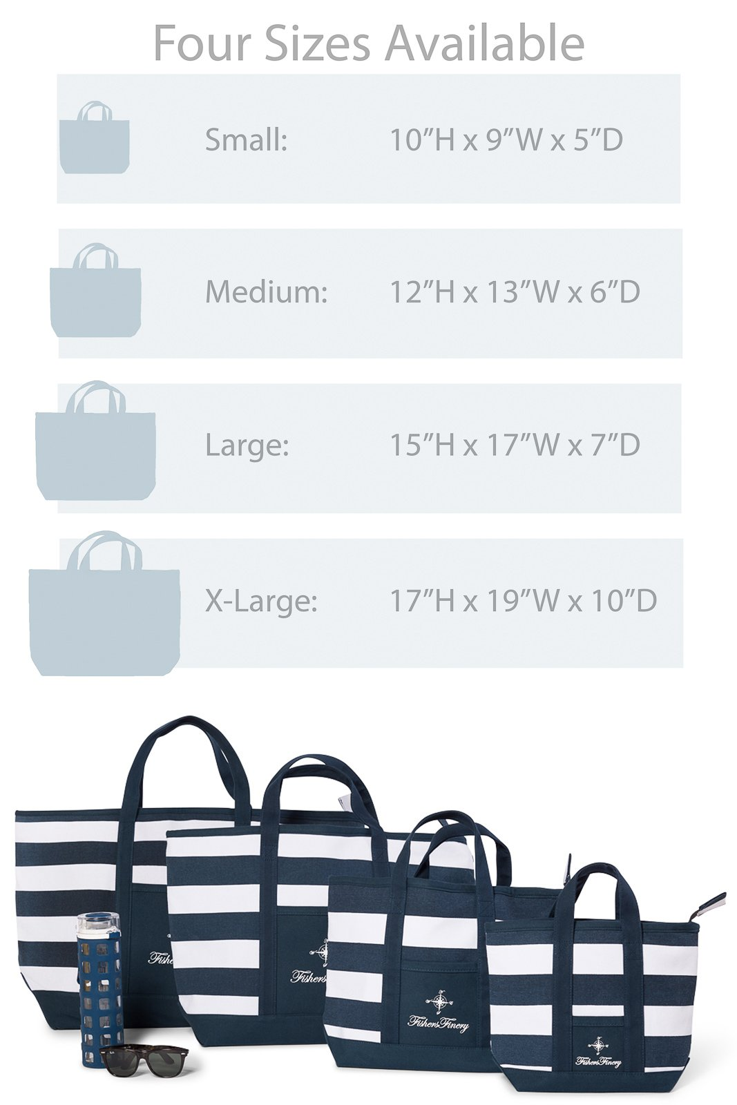 Fishers Finery Canvas Tote with Zipper and Lining with interior Pockets; Multi Sizes and Colors (Navy, S) by Fishers Finery (Image #3)
