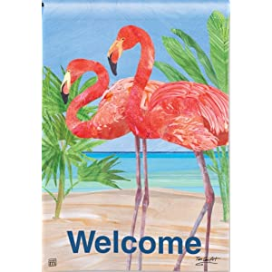 Personalized Pink Flamingo Double Sided Garden Flag 12 12 w x