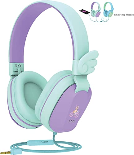 Kids Headphones, Riwbox CS6 Lightweight Foldable Stereo Headphones Over Ear Corded Headset Sharing Function with Mic and Volume Control Compatible for iPad iPhone PC Kindle Tablet Purple Green