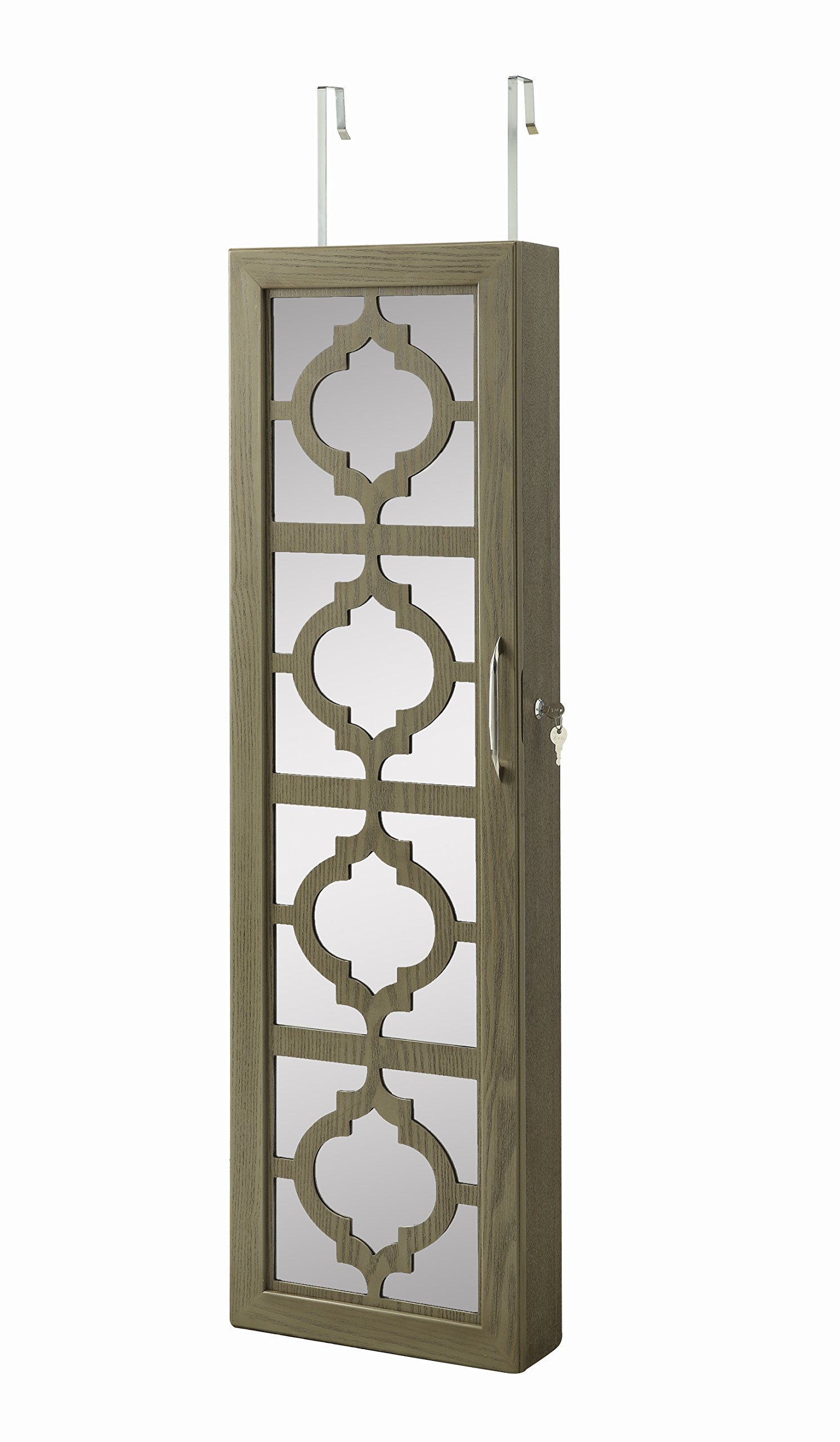 Lockable Wall Mounted Over the Door Jewelry Organizer Armoire Cabinet with Mirror Design Front and LED Lights by Abington Lane