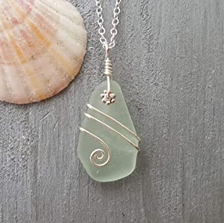 """product image for Handmade in Hawaii, Genuine surf tumbled natural sea glass, rare wire wrapped aqua beach glass sea glass necklace,""""March Birthstone"""", sea glass jewelry."""