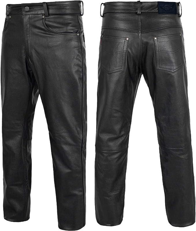 100/% Genuine Lambskin Leather Bike Rider pant Straiht Jeans Style 4 Men /& Boys