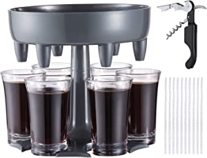 LAIWOO 6 Shot Glass Dispenser and Holder,Shot Dispenser,Shot Buddy Dispenser Pourer,Cocktail Dispenser,Drink Dispenser Plastic with All-in-one Waiters Corkscrew and Pipe Cleaners for Parties (Grey)