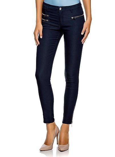 oodji Ultra Femme Pantalon en Viscose avec Zips Décoratifs, Bleu, FR 34    XXS bada377f57ea
