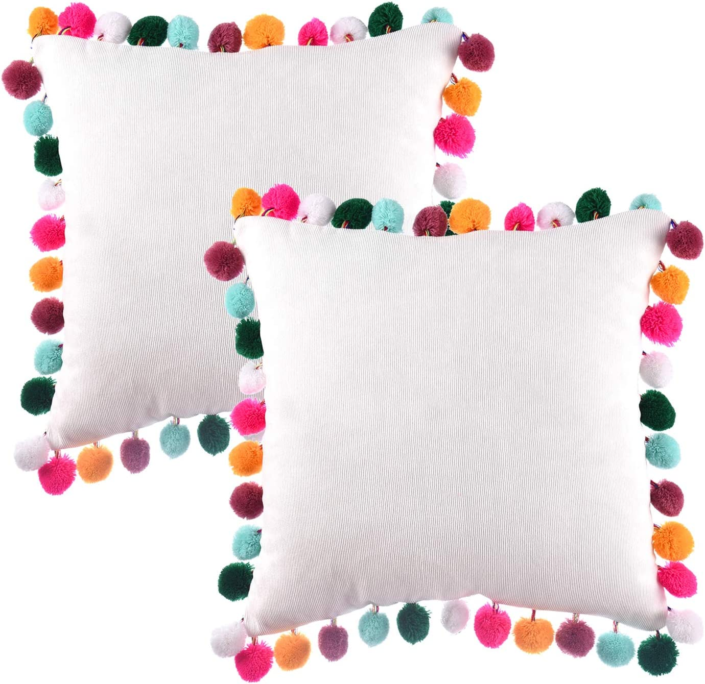 Amazon Com Rainbow Pom Poms Pillows White Throw Pillow Cover Cushion Pillow Case Decorative Corduroy Pillowcase For Couch Bed Sofa Home Car 16 X 16 Pack Of 2 Home Kitchen