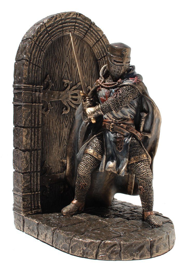 Armored Maltese Crusader With Sword Guarding Door Single Bookend Cold Cast Bronze Masada Goods