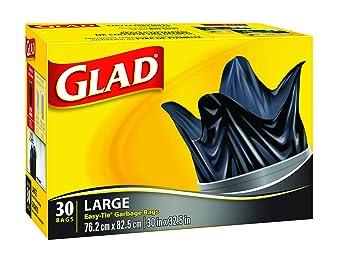 glad black garbage bags large 77 litres easy tie handles 30