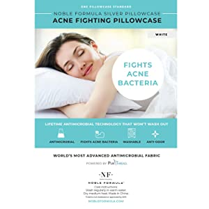 Noble Formula Silver Acne Fighting Antimicrobial Pillowcase with PurThread Silver Technology, White, 1 Standard Pillowcase