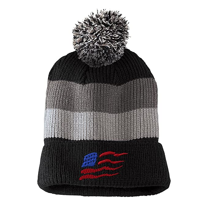 9611c342964 Wavy American Flag Red Blue Embroidered Unisex Adult Acrylic Vintage  Striped Removable Pom Pom Beanie Winter