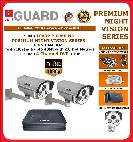 iBall CCTV FULL HD 1080P 2.0 MP HD Premium Night Vision CCTV 2 Camera Kit Bullet Cameras at amazon