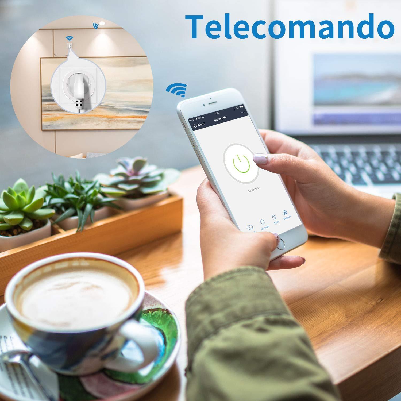 Presa Intelligente Wifi AISIRER Spina Intelligente Wifi Energy Monitor per Elettrodomestici Gestione Accesso Remoto tramite App Android e iOS Presa Wireless Funziona con Alexa,Google Assistant e IFTTT