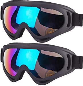 MAMBAOUT Ski Goggles, Snowboard Goggles for Men, Women, Youth, Kids, Boys or Girls, Snow Goggle Winter Skiing Sport Goggles, Anti Fog Protection, Wind Resistance, Pack of 2