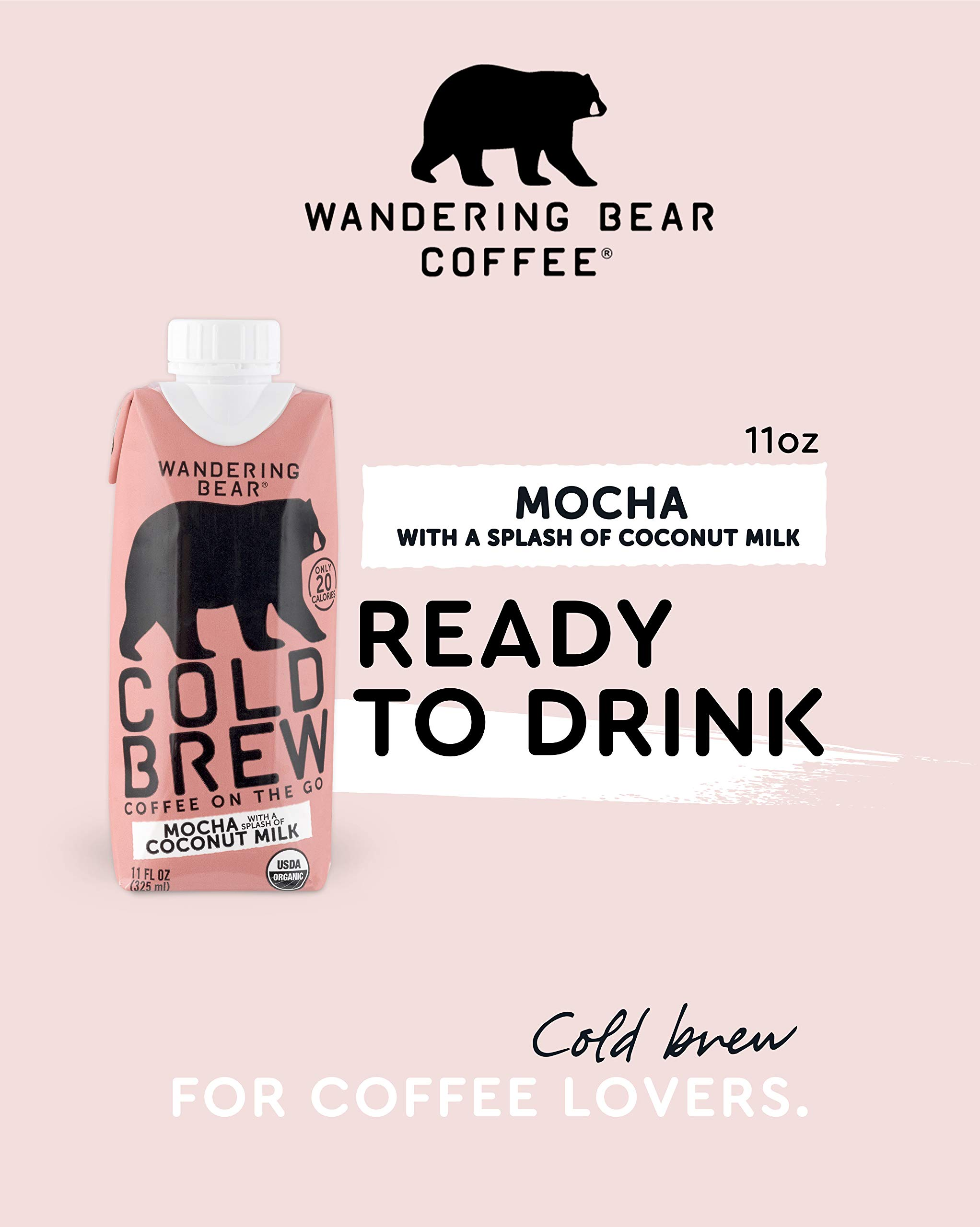 Wandering Bear Organic Cold Brew Coffee On-the-Go 11 oz Carton, Mocha With Splash of Coconut Milk, No Sugar, Ready to Drink, Not a Concentrate (Pack of 12) by Wandering Bear (Image #2)