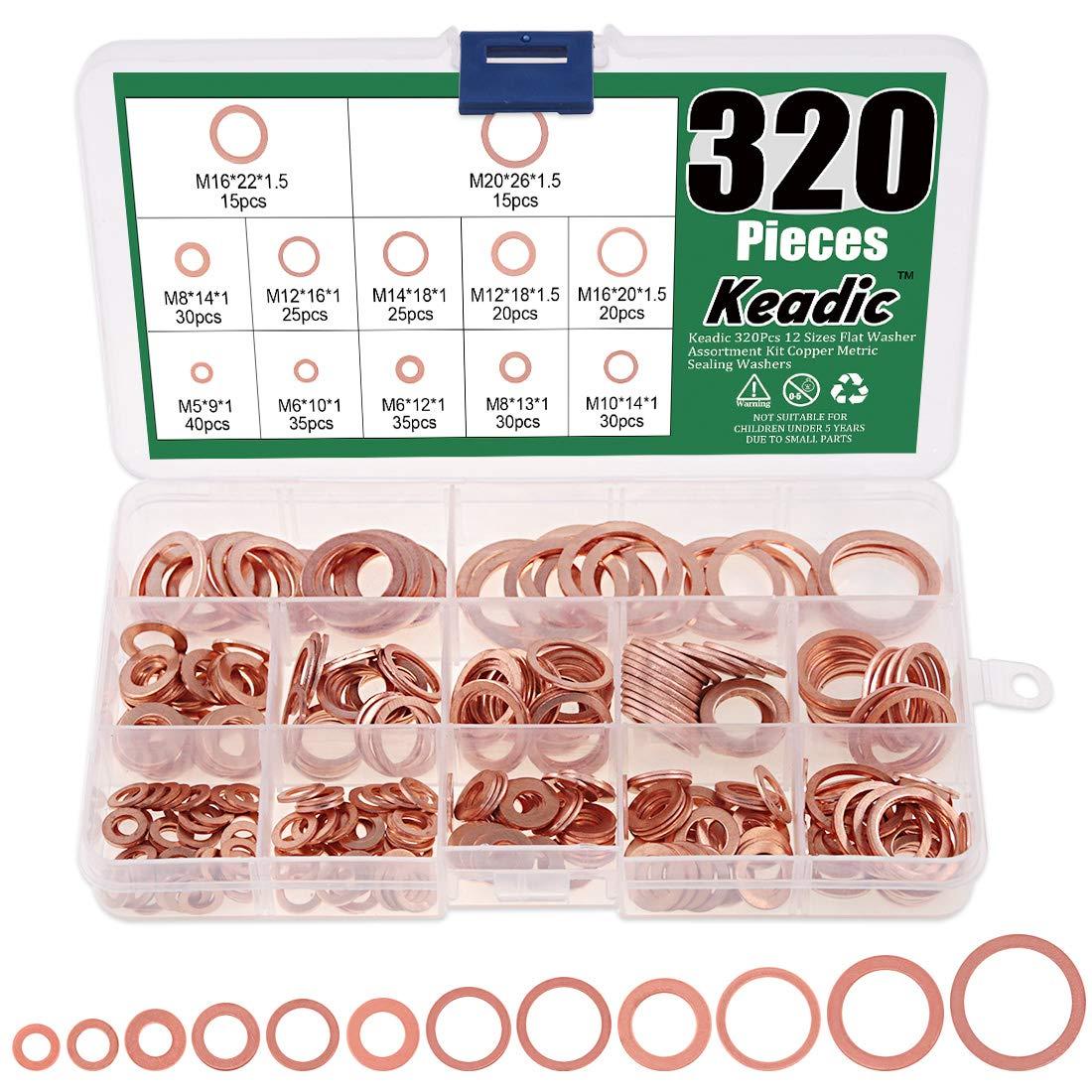 Keadic 320Pcs 12 Sizes Flat Washer Assortment Kit Copper Metric Sealing Washers - M5 M6 M8 M10 M12 M14 M16 M20