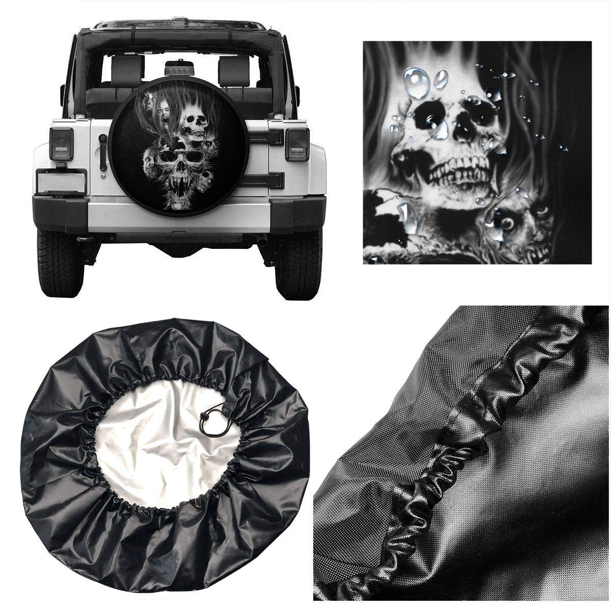 Ersatzradabdeckungen Spare Tire Cover for Trailer SUV Camper Travel Trailer Accessories Skull Water Proof Sunscreen Universal Spare Wheel Tire Cover Fit 14 15 16 17 DIY Tire Protective Cover
