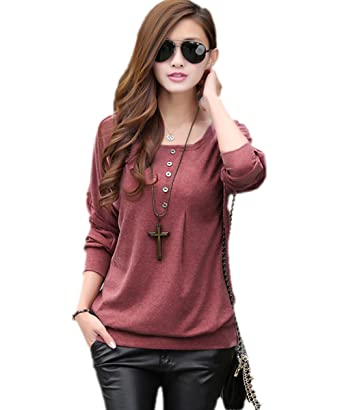 27cfdecd905 1410 Women s batwing sleeves side button office party casual daily wear top  t shirt blouse  Amazon.in  Clothing   Accessories