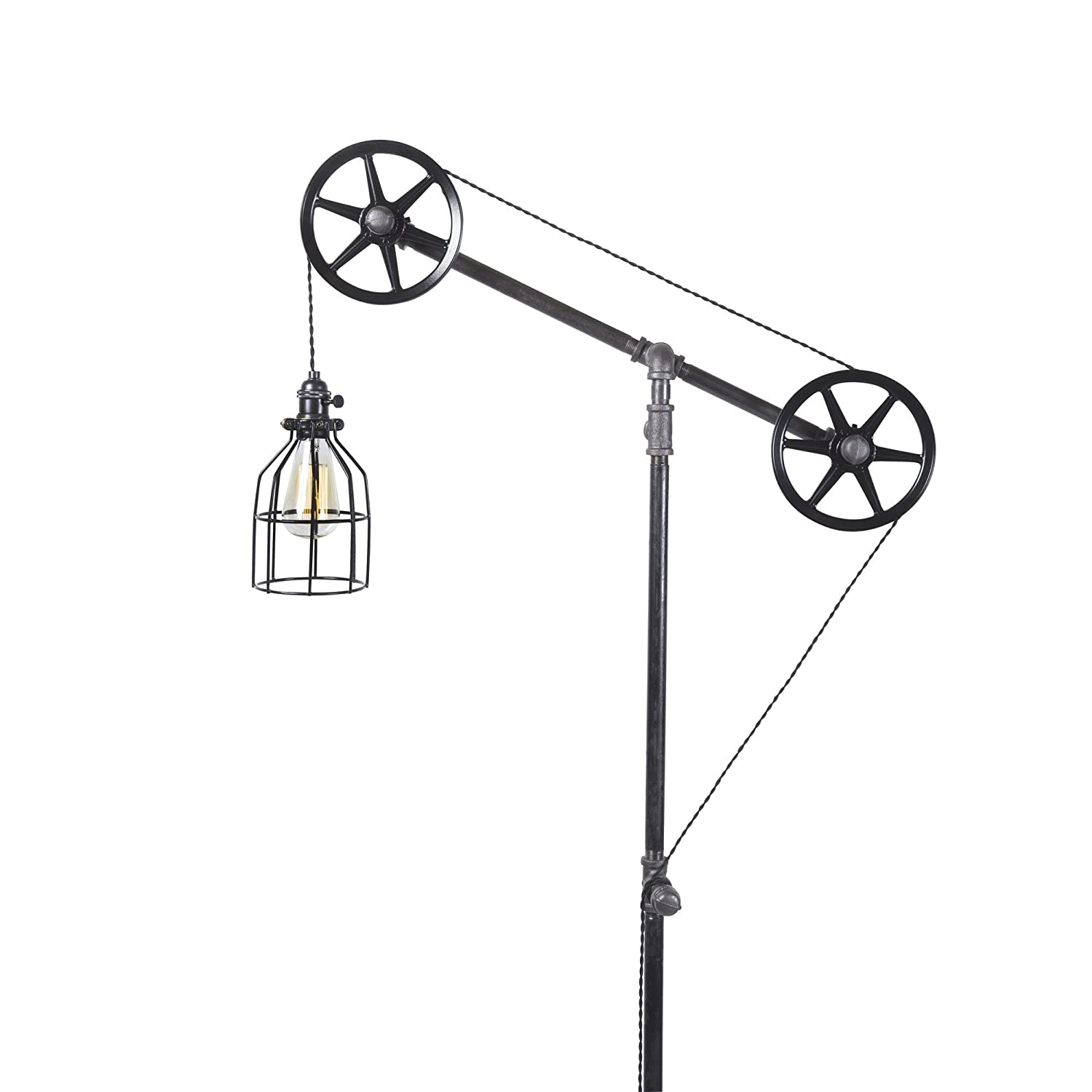 West ninth vintage black pendant industrial floor lamp with metal cage light amazon com