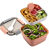 Freshmage Salad Lunch Container To Go, 52-oz Salad Bowls with 3 Compartments, Salad Dressings Container for Salad Toppings, S