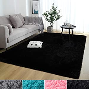 Rostyle Super Soft Fluffy Nursery Rug for Kids Teens Room Comfy Cute Floor Carpets Kids Playing Mat for Bedroom Living Room Home Decorate Area Rugs, 4 ft x 6 ft, Black