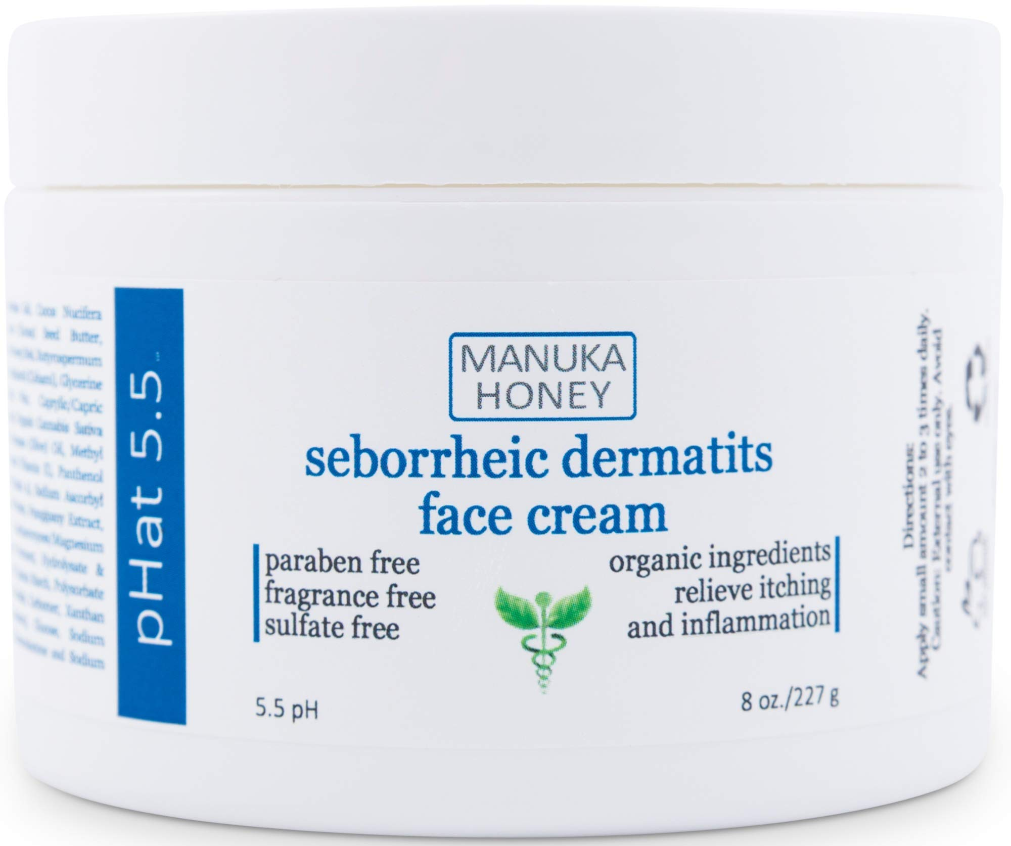 Seborrheic Dermatitis Cream with Manuka Honey, Coconut Oil and Aloe Vera - Moisturizing Face and Body Anti Itch Cream and Skin Treatment for Sensitive Skin - Natural & Organic Cream (8 oz)