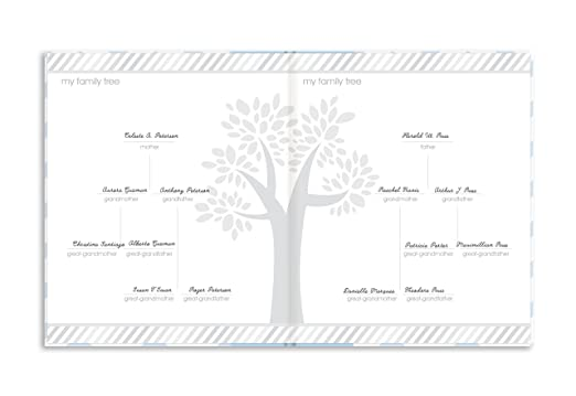 Beautiful Gift for Any New Mum Pearhead First 5 Years Chevron Baby Memory Book with Included Clean-Touch Baby Safe Ink Pad to Create Babys Handprint or Footprint Blue Keepsake Milestone Journal