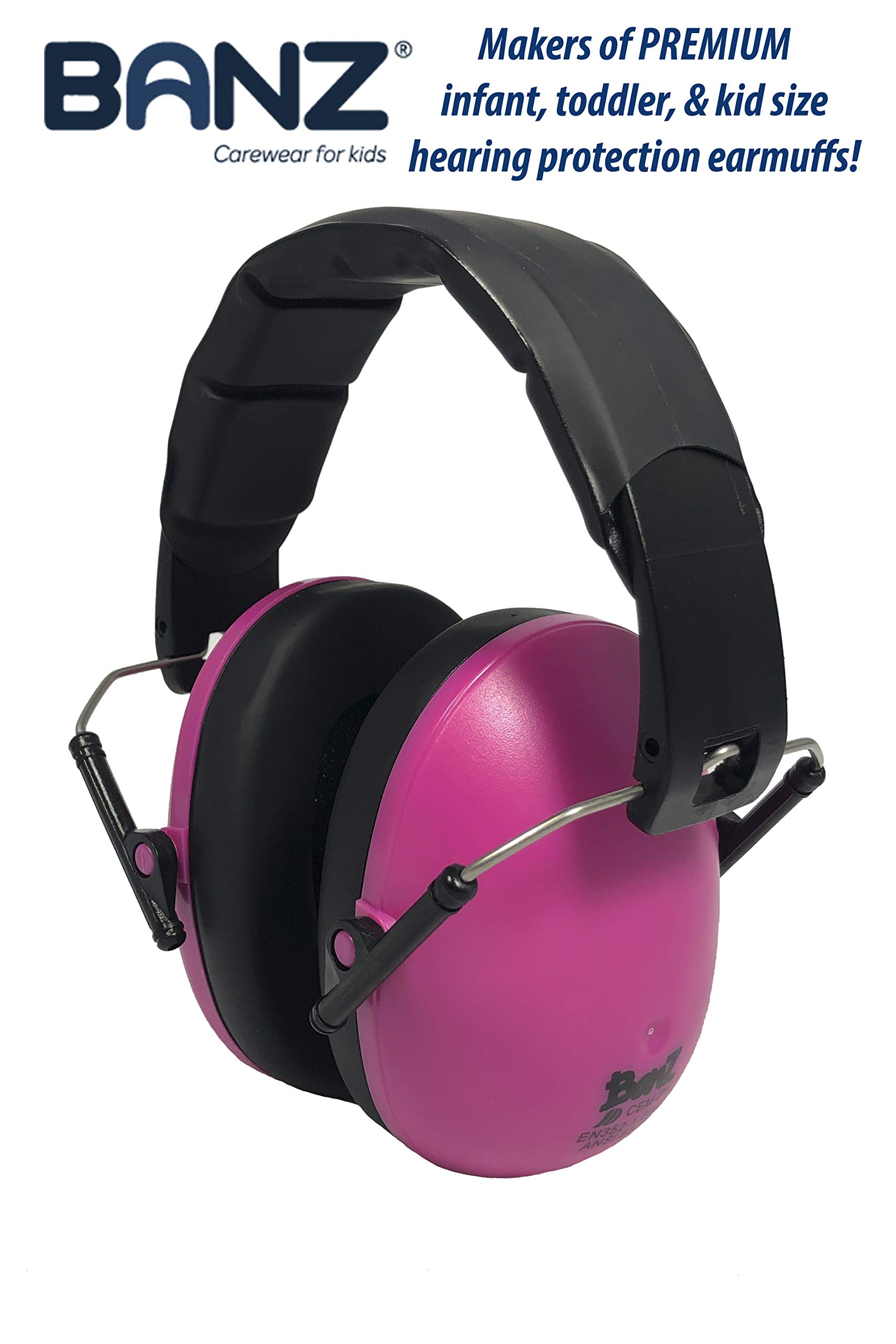 Baby Banz Earmuffs Kids Hearing Protection - Ages 2+ Years - THE BEST EARMUFFS FOR KIDS - Industry Leading Noise Reduction Rating - Soft & Comfortable - Kids Ear Protection, Magenta by BANZ (Image #2)