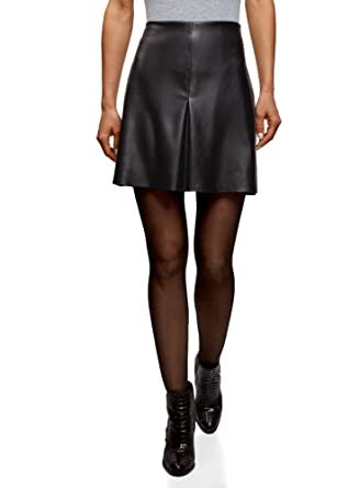5809ac3156 oodji Ultra Women's Pleated Faux Leather Skirt, Black, UK 4 / EU 34 ...