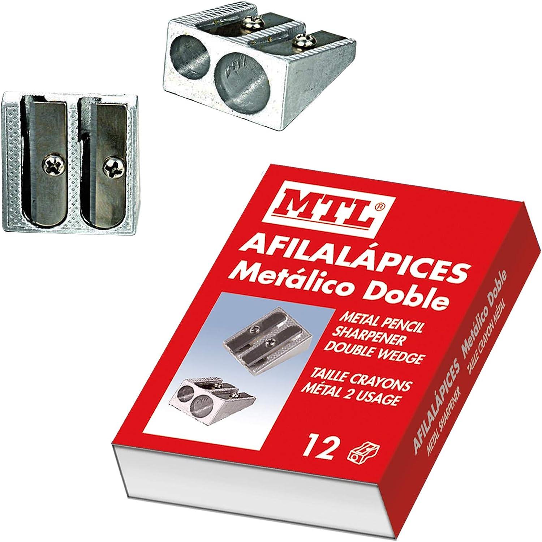 Dohe - Caja de afilalápices metálico doble - 12 uds: Amazon.es: Oficina y papelería