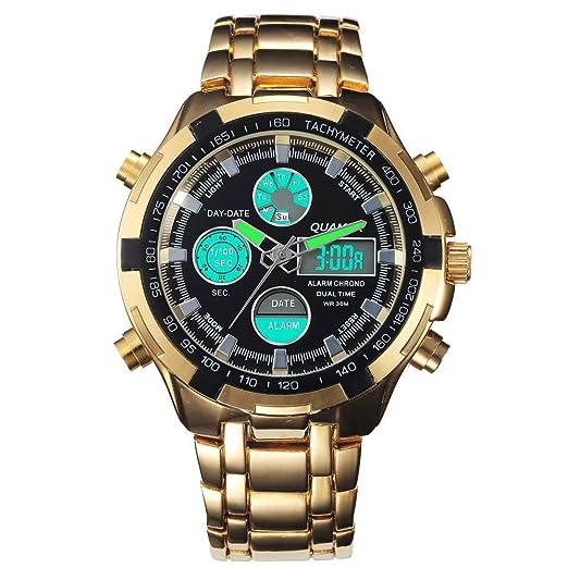 QUAMER Hombres de oro Digital reloj multifunción impermeable de acero inoxidable 165 oro negro: Amazon.es: Relojes