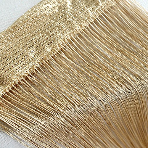 Door String Curtain Wall Panel Window Room Divider Blind, Home Decorative Tassel Screen Ribbon Strings, 100x200cm, Champagne