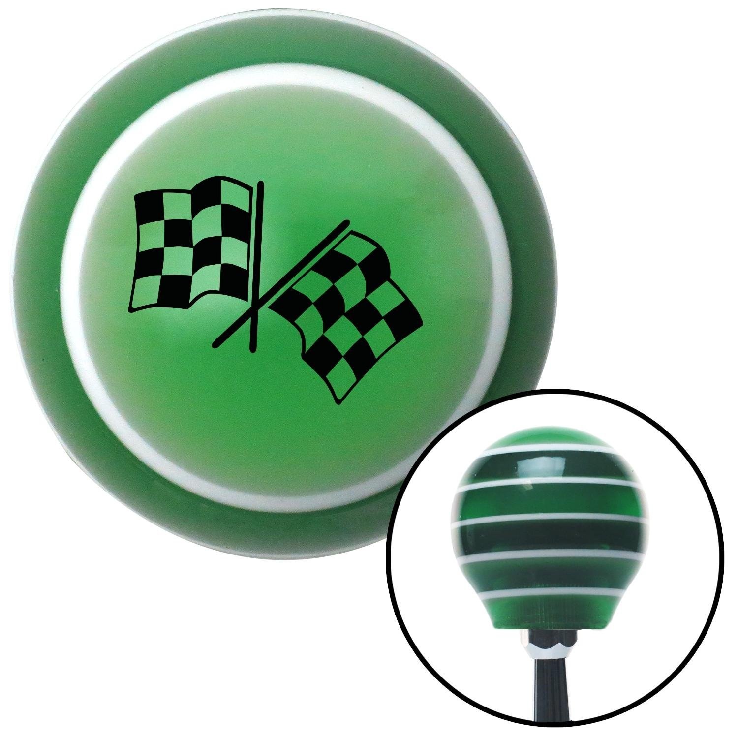 American Shifter 128471 Green Stripe Shift Knob with M16 x 1.5 Insert Black 2 Checkered Race Flags