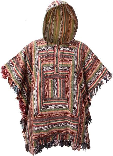 Poncho Little Kathmandu, de estilo Hippie, con capucha, de algodón H Talla única