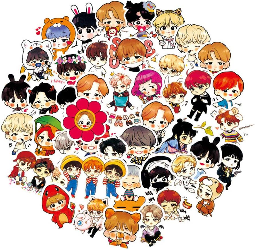 BTS Bangtan Boys Stickers Pack(120-pcs), No Repeat Variety Vinyl Stickers for Water Bottle Bike Laptop Ipad Phone MacBook Luggage Patches Skateboard with Waterproof PVC.