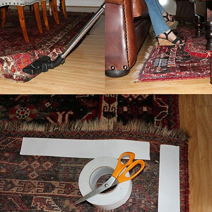 inhome doppelseitig teppich tape wei abnehmbar amazonde baumarkt - Geflschte Hartholzbden Ber Teppich