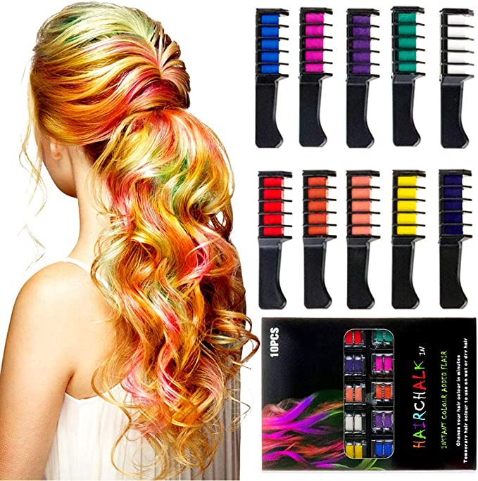 ADDCOOL Hair Chalk Comb Temporary Hair Color Dye for Kid Girls Party Cosplay DIY Festival Dress up Birthday Girls Gift Presents Hair Chalk Set Washable Color 10PCS (Multicolor): Buy Online at Best Price in UAE - Amazon.ae