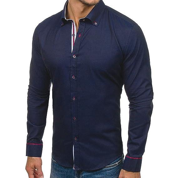 Camiseta para Hombre, BBestseller de Hombre Camisa de Manga Larga Casual Masculina de Color sólido