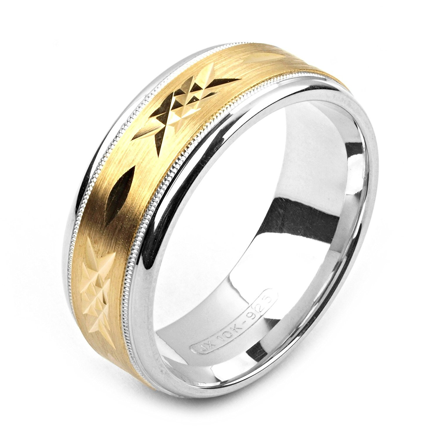 Alain Raphael 2 Tone Sterling Silver and 10k Yellow Gold 8 Millimeters Wide Wedding Band Ring by Alain Raphael