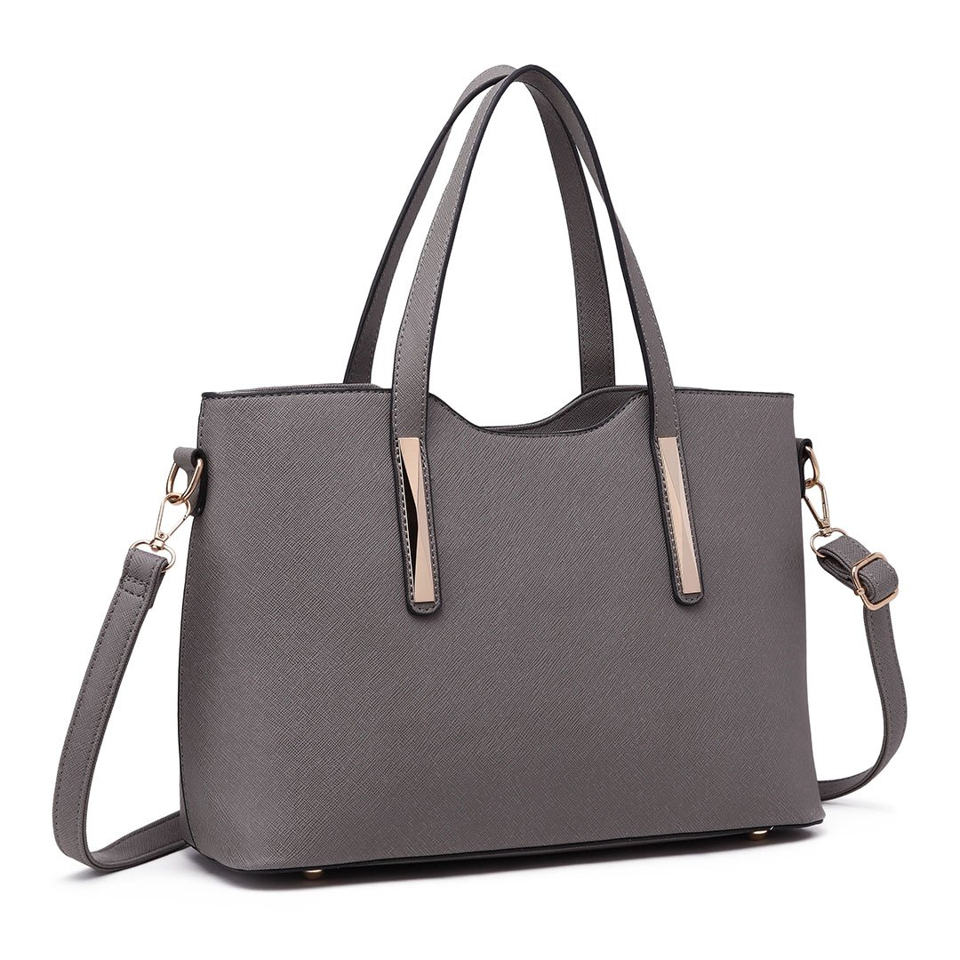cdafc6566a Miss Lulu Fashion Ladies Pu Saffiano Leather Top Handle Bags 2 Pieces Tote  Shoulder Handbags for Women (1719 Grey): Amazon.co.uk: Shoes & Bags